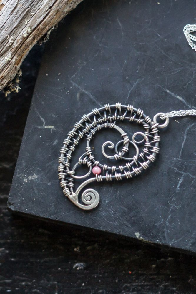 Wire wrapped delicate paisley pendant. Lasy silver woven.  middle eastern style