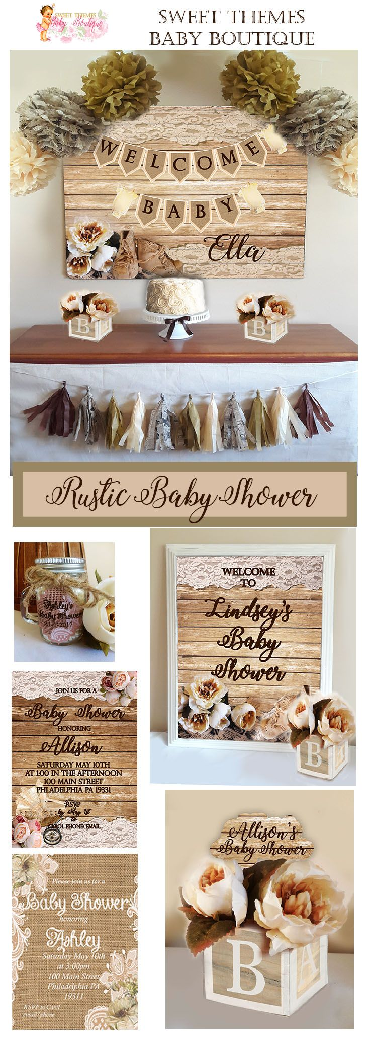 Rustic Baby Shower, Rustic Baby Shower Collections, Baby Shower, Baby Shower Decorations, Baby Shower Invitations
