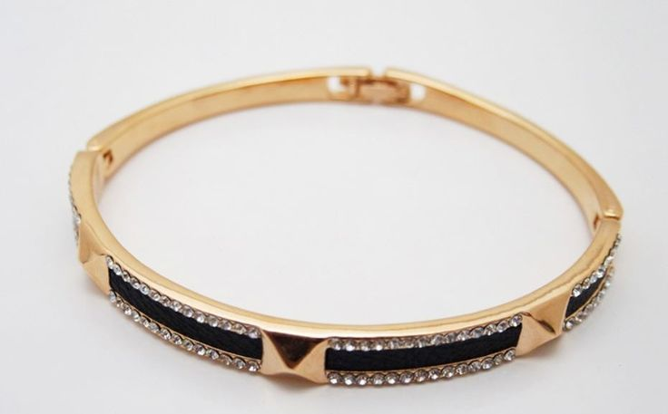 Bracelet with cubic - Rose Gold Color - Brass Material- 1pc #Unbranded