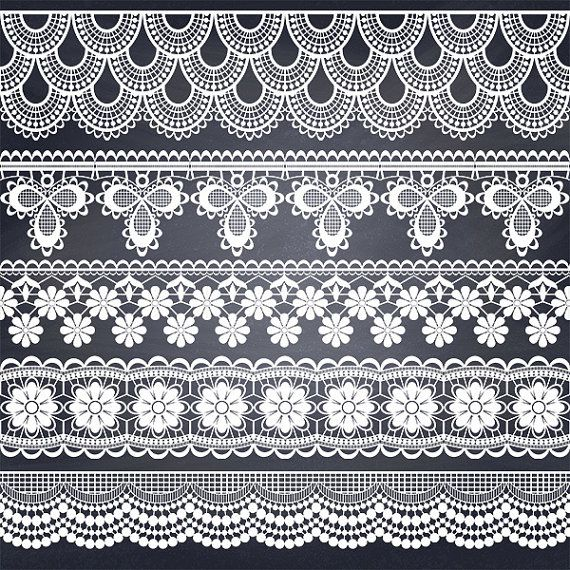 70% OFF SALE Lace Borders Clipart White Lace Borders by DigiKika