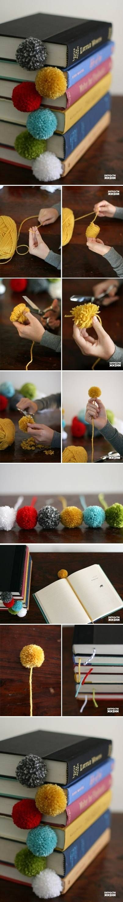 DIY Fancy Pom Poms Bookmark. kids could do these for christmas. but I would put a pom on both ends