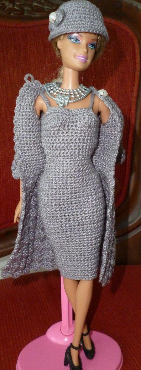 casaco sobretudo de crochê para boneca Barbie