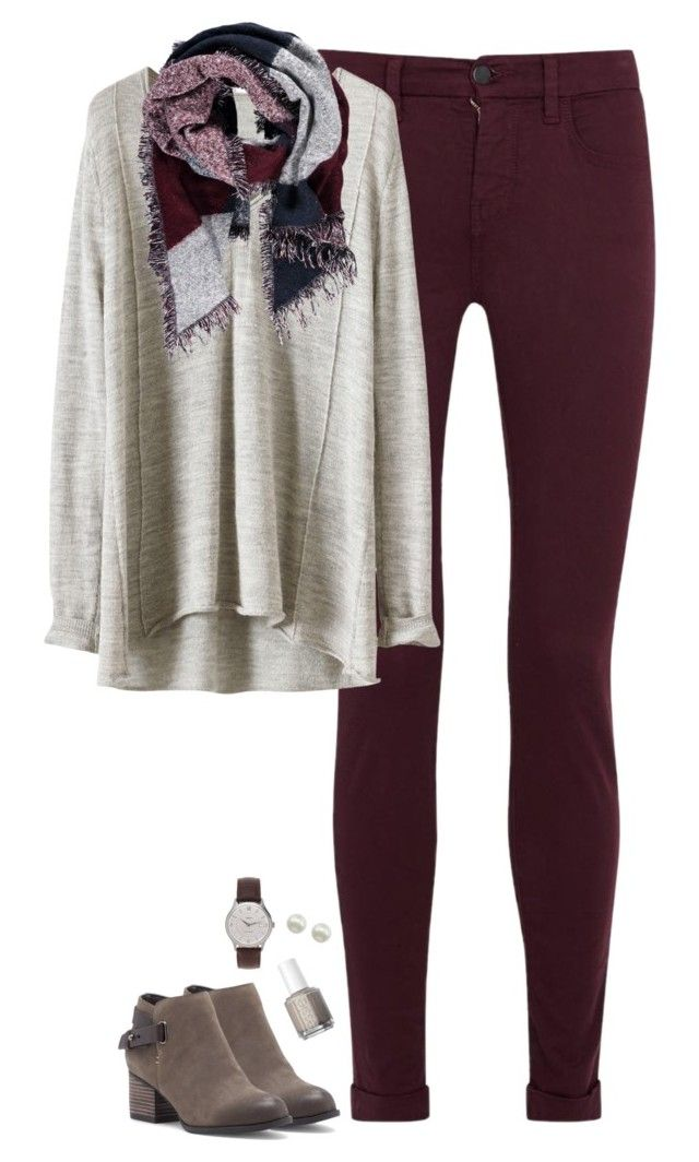 """Burgundy & gray"" by steffiestaffie ❤ liked on Polyvore featuring J Brand, Forever 21, Sole Society, Essie, Majorica, J.Crew, women's clothing, women, female and woman"