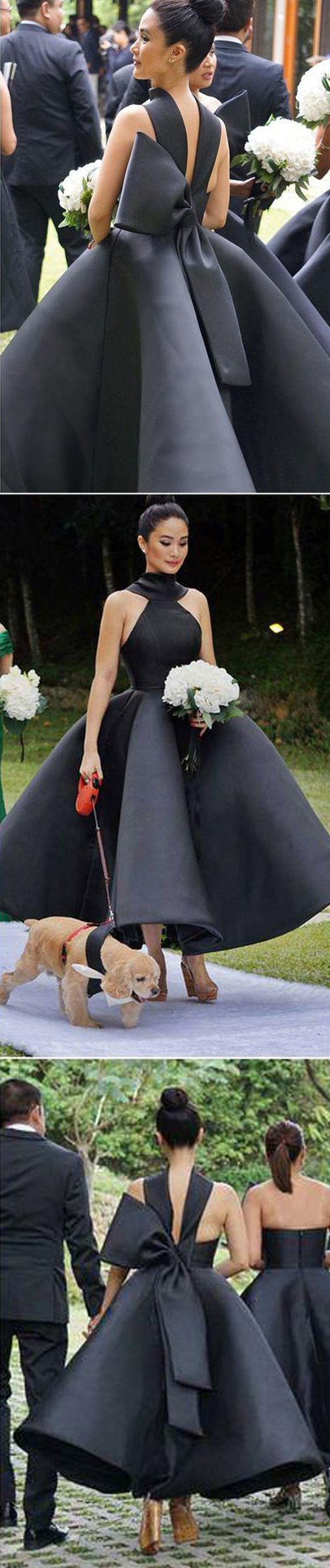 Unique New Arrival Black Ankle Length Wedding Party Bridesmaid Dresses with Bow, WG445 #bridesmaidsdress #weddingpartydress #bridesmaids