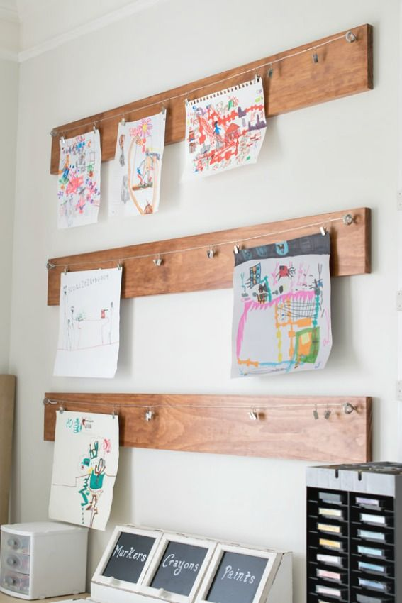How To Create A Homework Area For Kids - attach wire and clips to a board for an artwork or homework display