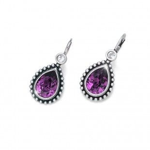Oliver Weber Women lovely amethyst earrings antique drop with Swarovski Crystals