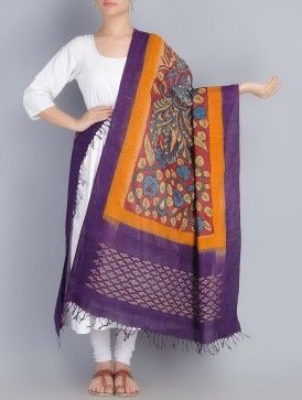 Purple-Orange Multicolor Ikat Hand Painted Kalamkari Cotton Dupatta