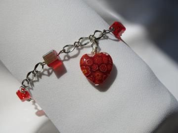 Heartbeat - Charm Bracelet with Love Heart - Silver Chain - Red Cube Beads - Ready to Ship - One Size Fits Most B074