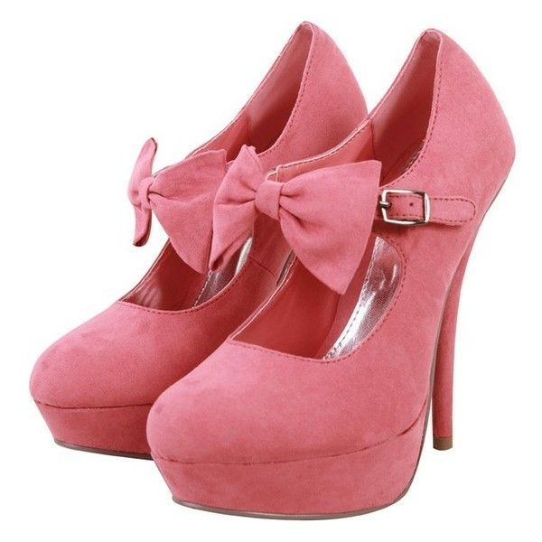 Dressrail.com Molly Suede Bow Front Platform Dolly Stiletto Heels-Pink found on Polyvore: Fashion, Front Platform, Molly Suede, Style, Pink Bows, Pink Shoes, High Heels, Dolly Stiletto
