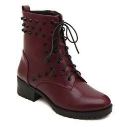 Stylish Rivets and Pure Color Design Women's Combat Boots