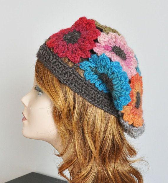 Multicolor Crochet Slouchy Hat by jennysun on Etsy