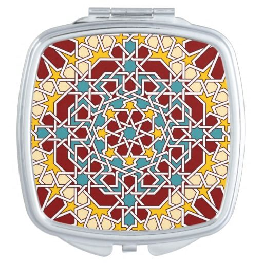 Islamic geometric pattern mirrors for makeup