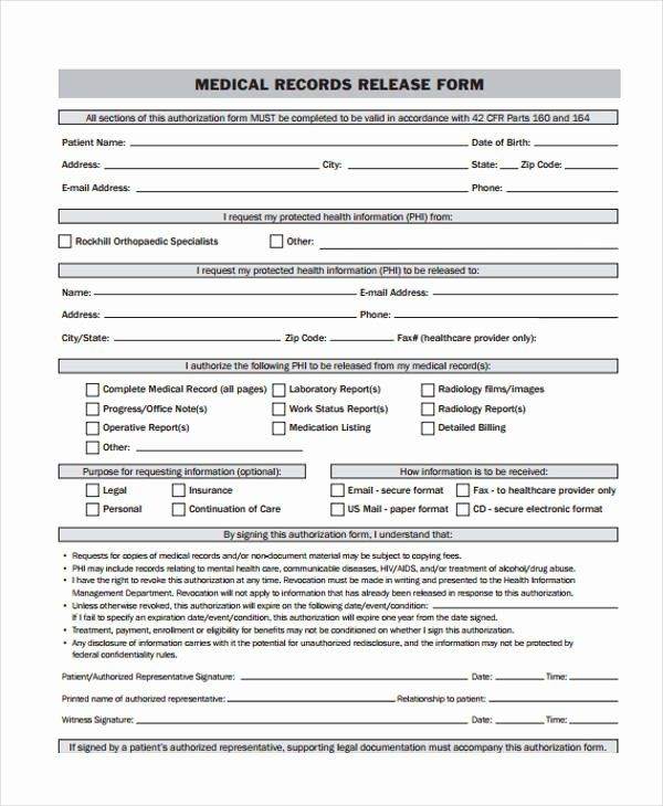 Medical Record Release Form New 24 Medical Release Form Templates Job Application Template Protected Health Information Form Example