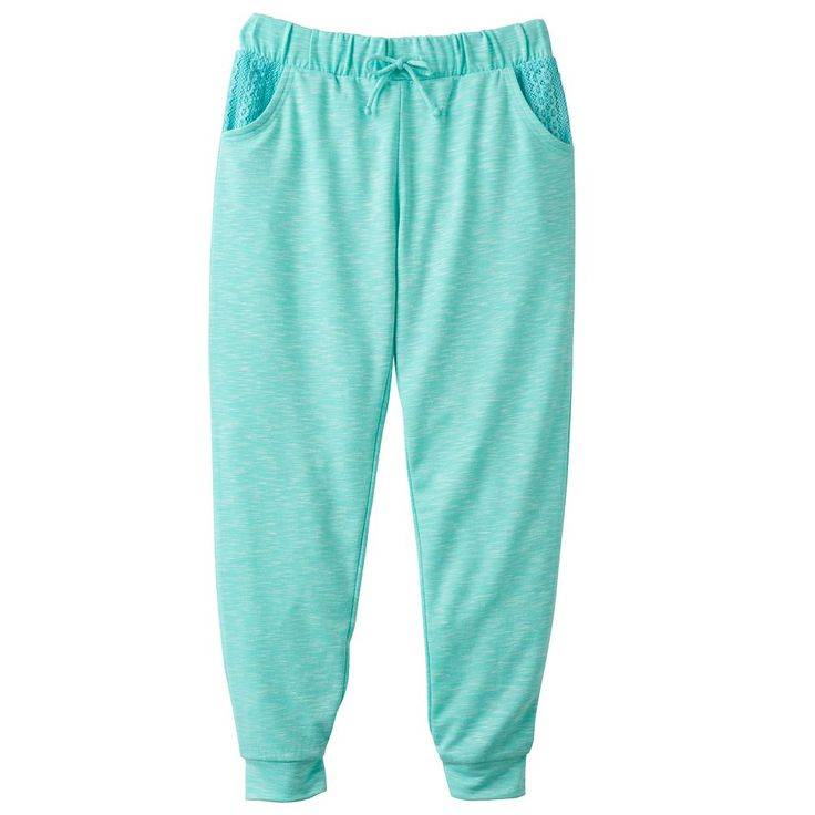 Girls Plus Size SO® Crochet Pocket Jogger Pants, Size: 16 1/2, Turquoise/Blue (Turq/Aqua)