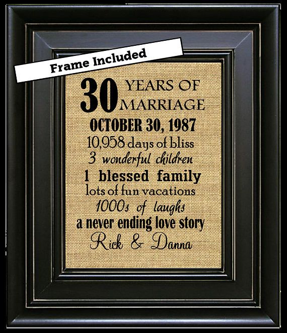 FRAMED 30th Wedding Anniversary Gift Gifts