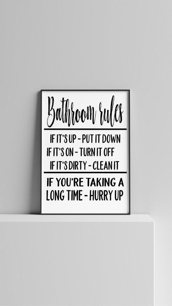 Bathroom Rules Printable Art Washroom, Bathroom Rules Art