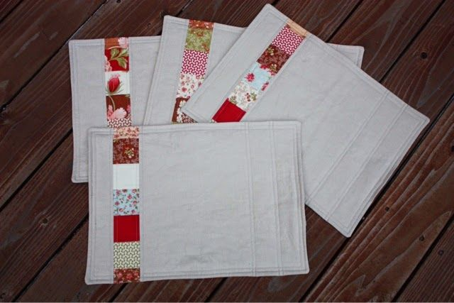Hello Quilty Lady: Placemat Gifts - 3 sets, all made with mini charms and linen/solids fabrics, very modern, no binding, love them all.