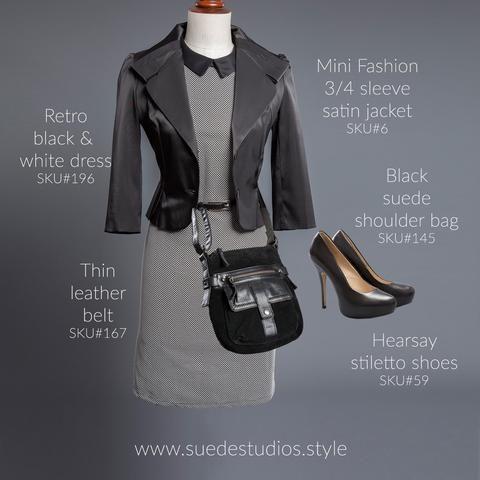 Suede Studios Style: Retro black & white dress, Mini Fashion 3/4 sleeve satin jacket, black suede shoulder bag, thin leather belt, Hearsay stiletto shoes.