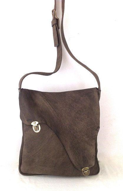 Uniek, een van een soort, bruin-grijs lederen tas, ontworpen voor dagelijks gebruik, unisex, zacht leer, crossbody, man & vrouwen, koele ges