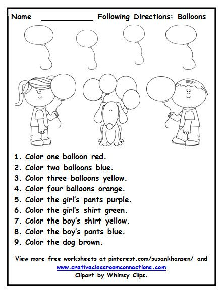 This free worksheets provides students with practice following simple directions and using color and number words. Many free worksheets available at pinterest.com/susankhansen/