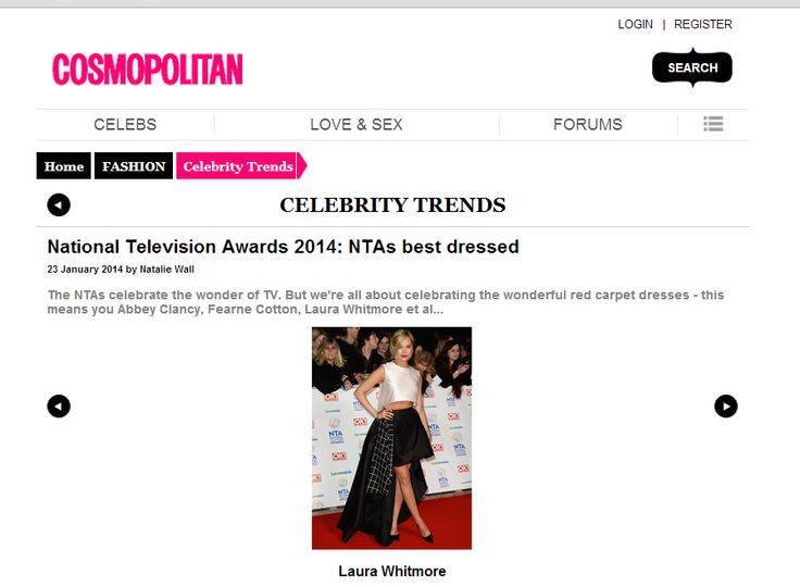 Laura Whitmore in La Mania chosen as one of the best-dressed at the NTA's by Cosmpolitan