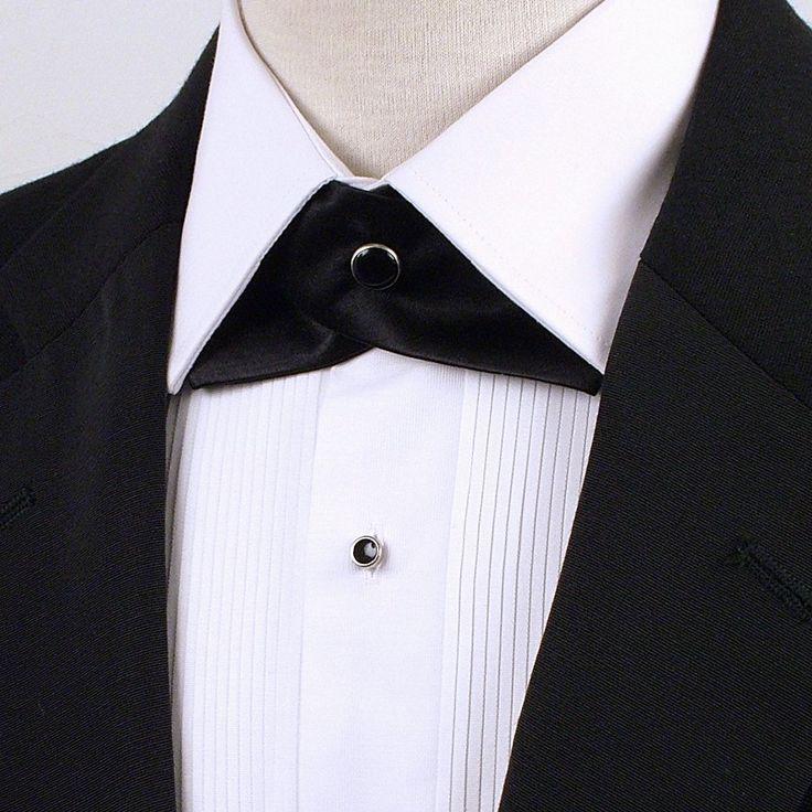 "Black Satin 100% silk Cross over Coninental bow tie black snap on fastening TBBCNBL adjustable 15.5"" up to 21"""