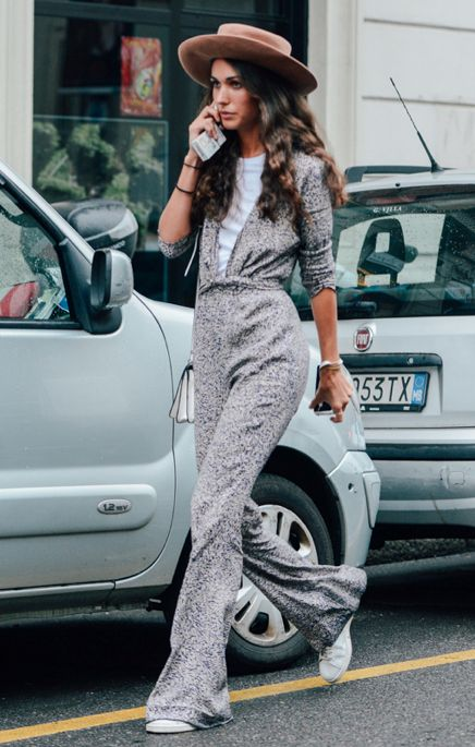Retro inspired street style. Seventies inspired at Milan Fashion Week Spring 2015.