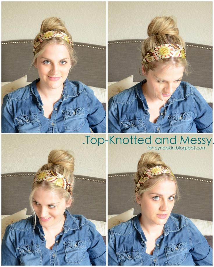 fancy napkin: .top knot and messy silk scarf