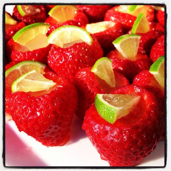Strawberry Margarita Jello Shots | celebrate Spring and strawberry season!