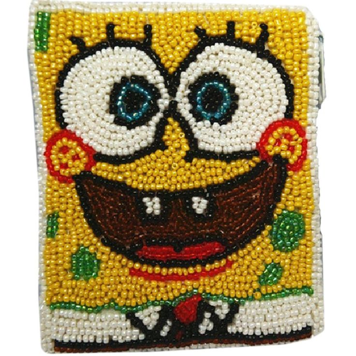 Creative Spongebob Design Coin Purse DIY Beaded Bag. DIY beaded coin purse. Surface: glass beads/Lining: high-grade satin. Size: About 11.5 x 9.5 cm. Do not fade,cool and comfortable. Pure handmade,fine quality.