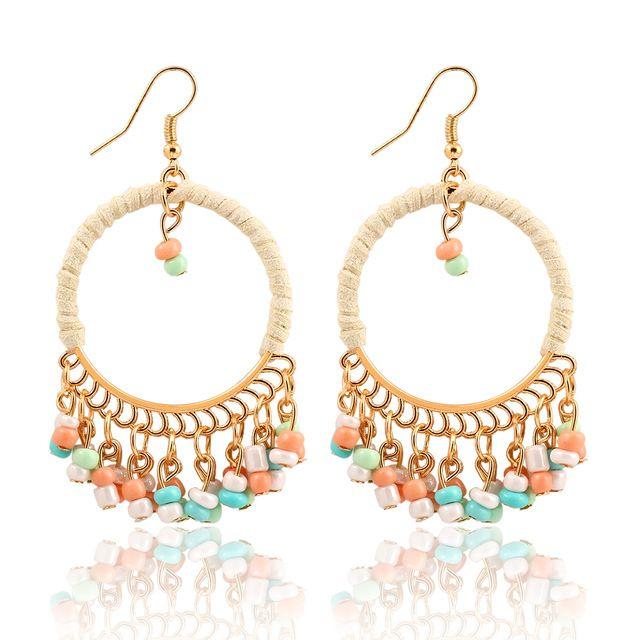 New Top Sale Charm Fashion Bohemian Hand-woven Alloy Round Pendant Tassel Dangle Earrings Women Statement Earring Jewelry LS51
