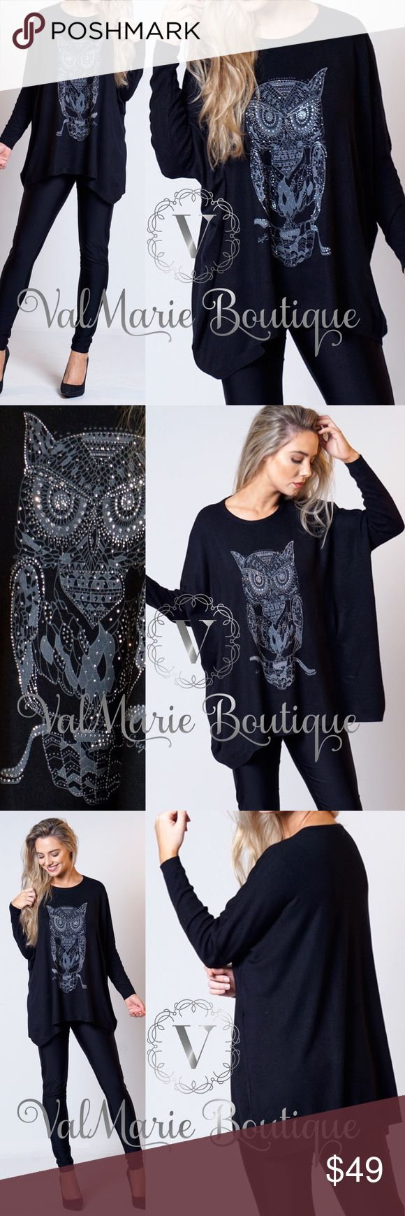 """💠RESTOCKED- Buttery Soft Rhinestone Owl Sweater The softest sweater EVER!!!! One size fits most because it's baggy, soft and oversized. Fits sizes 2-12. You won't regret buying this. This sweater almost has a cashmere feel to it. Width of bust is 29"""" laying flat! So versatile and amazing. 80% viscose, 15% poly, 5% Spandex. Gorgeous Rhinestone owl. ValMarie Sweaters"""