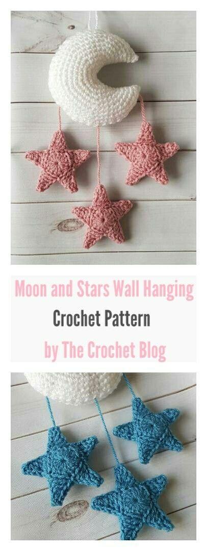 Moon And Stars Crochet Wall Hanging