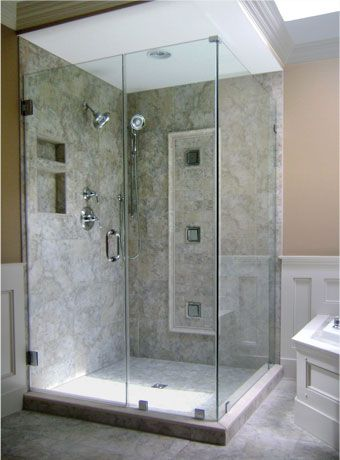 glass shower | Frameless Pivot Shower Doors , Frameless Steam Shower Enclosures ...