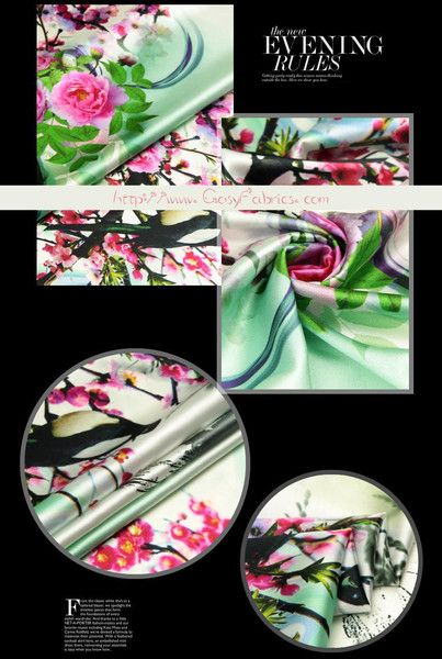 Vogels & Bloemenprint Elasthaan Zijde Satijn stoffen, Zomerstoffen, Mode Kledingstof, 1.1m   Stoffen Aantal: TLD521112955300 Materiaal:93% zijde(Mulberry silk),7% Elasthaan (Spandex) Maat:...