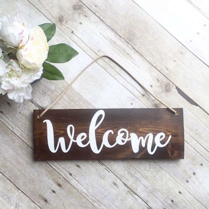 Welcome Sign - Front Door Sign - Wreath Sign - Outdoor Sign - Wood Sign - Home Decor - Front Yard Sign - Brown Sign by ShopHouseOfLiv on Etsy https://www.etsy.com/listing/288424989/welcome-sign-front-door-sign-wreath-sign