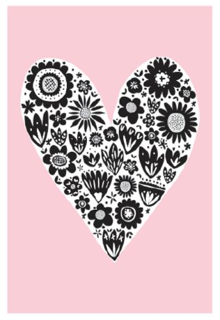 Graphic Heart Greeting Card - Printed in the UK