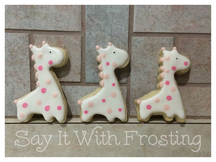 Pensacola Custom Cookies- These adorable pink spotted giraffe sugar cookies were made for a Pensacola baby shower event.