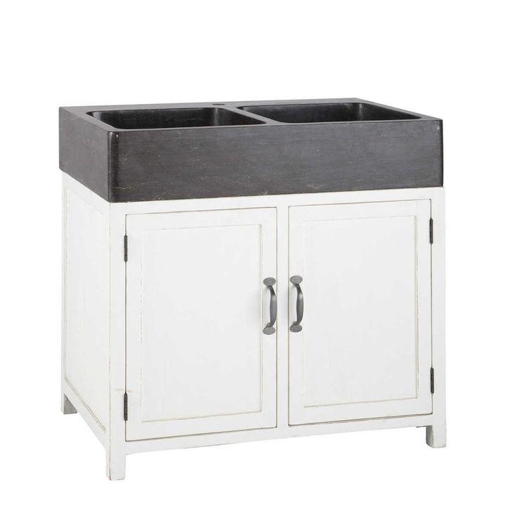 Küchenunterschrank aus Recyclingholz mit Spüle, B 90 cm Rustikal - küchen unterschrank spüle