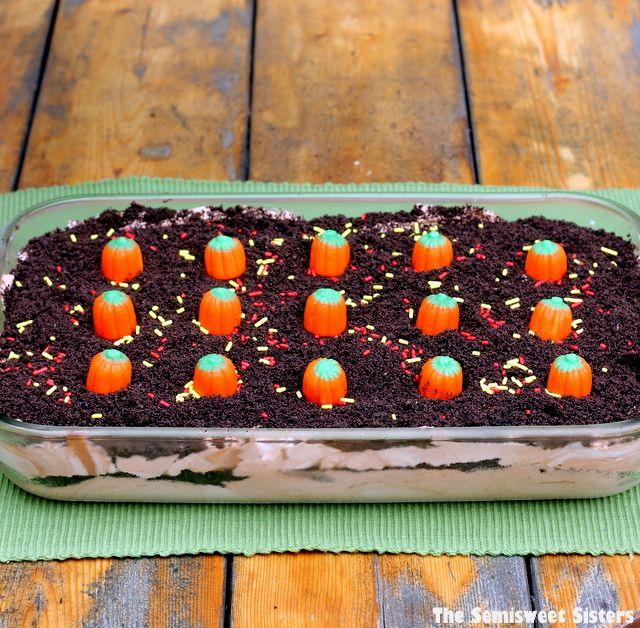 OMG! Double Chocolate Oreo Halloween Dirt Cake! Looks like a mini pumpkin patch! So adorable!
