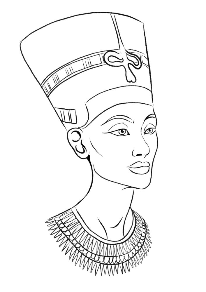 Black Nefertiti Drawing : black, nefertiti, drawing, Nefertiti, Illustration, Print, Viktorius, X-Small, Egypt, Tattoo,, Egyptian, Tattoo