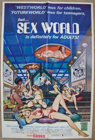 Sex World: 1978, with a 1977 copyright, Original theatrical one-sheet movie poster, Essex Films, Stars Annette Haven, Amber Hunt, Desiree West, John Leslie, Kay Parker, Leslie Bovee, Sharon Thorpe, and Johnny Keyes. Directed by Anthony Spinelli. $300