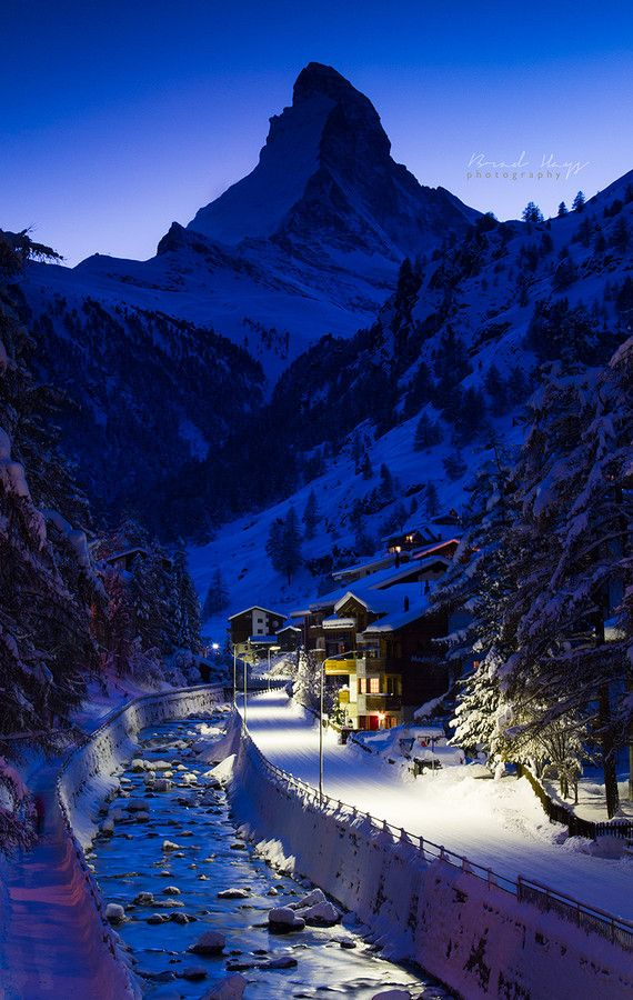 Blue hour - Matterhorn in Zermatt, Switzerland