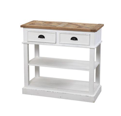 """Tøft og rustikt Avignon konsollbord i en stilig fargekombinasjon! Konsollbordet kombinerer moderne """"slitt hvitt"""" med tradisjonell mønstret naturtopp i resirkulert alm. Se detaljbilder for mønsteret i bordplaten.   Dette er bordet for deg som tiltrekkes av den rustikke stilen hvor ingen to bord vil være like! Materialene som er benyttet er resirkulerte og vil kunne bære preg av sitt tidligere liv. Sprekker og skjevheter kan og vil oppstå og er en bevisst, naturlig og akseptert del av…"""