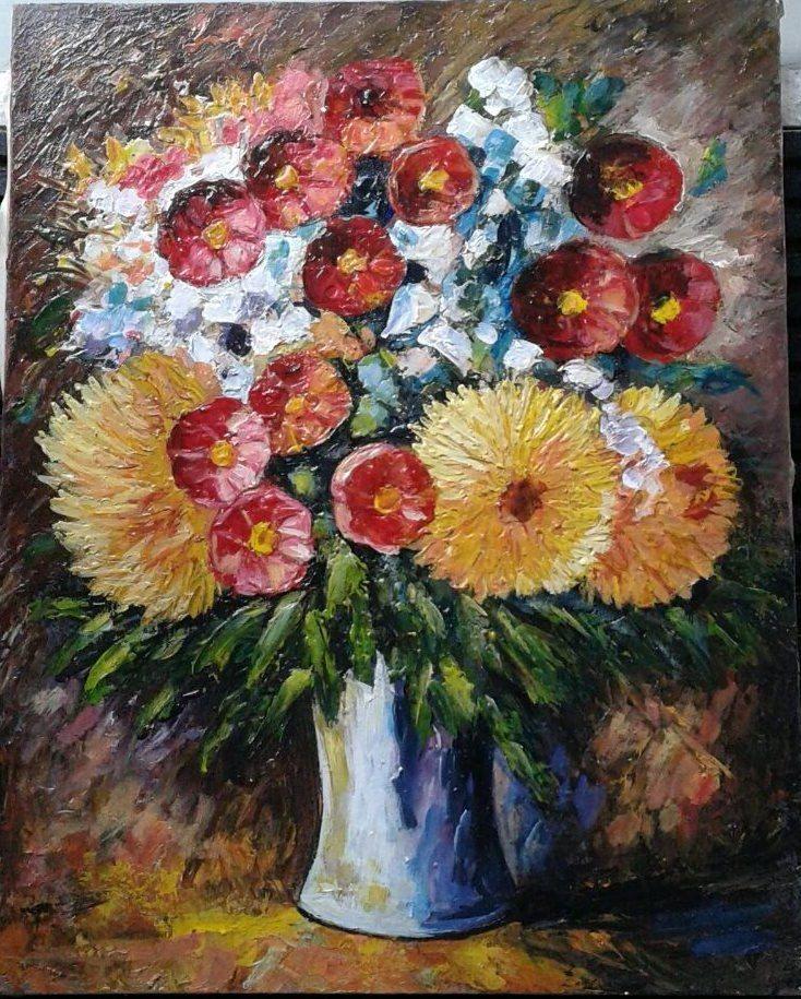 Lukisan bunga, oil on canvas, 40×50 cm, harga ; nego