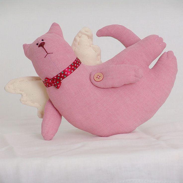 Кукла ручной работы `Кот` (летящий розовый) купить в Минске - подарки и сувениры на OZ.by