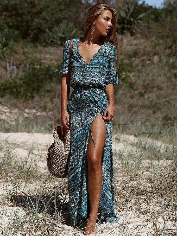 Bohemian Boho Dress 2018 Print Maxi Dress in Green for Summer Polyester – Milanoo.com