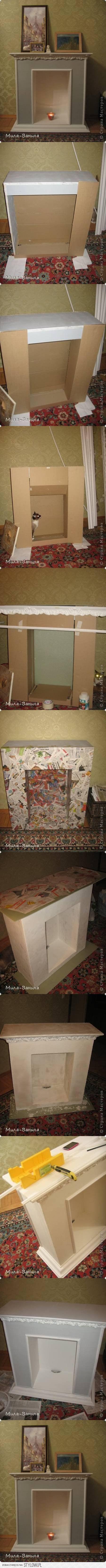 камин из картонной коробки