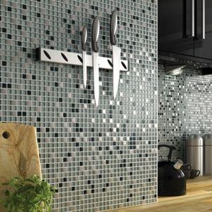 Wickes Glitter Black U0026 Silver Gloss Glass U0026 Metal Mix Mosaic Tile Sheet 308  X 300mm Part 92