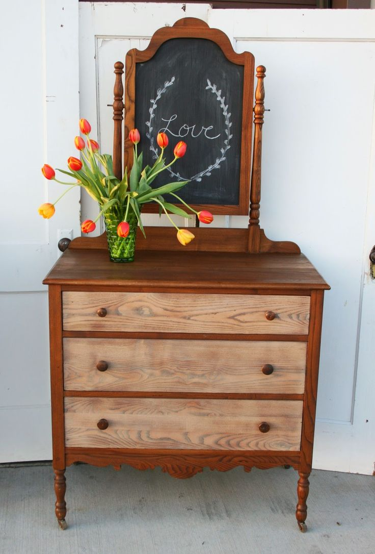 Antique Recreation Two Toned Stained Dresser With Mirror Chalkboard